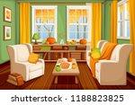 vector cozy autumn living room...   Shutterstock .eps vector #1188823825