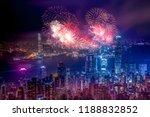 firework show in hong kong... | Shutterstock . vector #1188832852