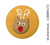 Gingerbread biscuit with reindeer icing decoration isolated on a white background. - stock photo