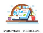 laptop screen showing latest... | Shutterstock .eps vector #1188861628