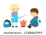 kids camping fire. children... | Shutterstock .eps vector #1188863995