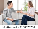 woman listening to her... | Shutterstock . vector #1188878758