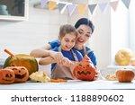 happy halloween  mother and her ... | Shutterstock . vector #1188890602