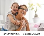 a nice girl and her grandmother ... | Shutterstock . vector #1188890605