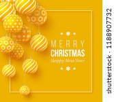 christmas yellow baubles with... | Shutterstock .eps vector #1188907732