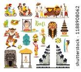 bali landmarks vector icons set.... | Shutterstock .eps vector #1188908062