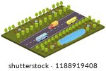 cars  buses on the road ... | Shutterstock .eps vector #1188919408