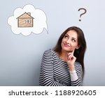 happy thinking casual woman in... | Shutterstock . vector #1188920605
