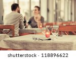 romantic young couple at... | Shutterstock . vector #118896622