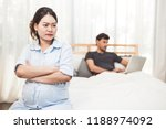 pregnant woman worried about...   Shutterstock . vector #1188974092