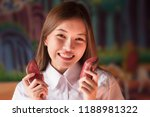happy smiling woman holding yin ... | Shutterstock . vector #1188981322