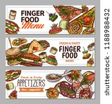 horizontal banners with finger... | Shutterstock .eps vector #1188988432