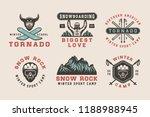 set of vintage snowboarding ...   Shutterstock . vector #1188988945