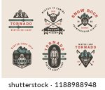 set of vintage snowboarding ... | Shutterstock . vector #1188988948