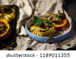 stuffed pumpkin with millet and ... | Shutterstock . vector #1189011355