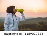 woman drink water from the... | Shutterstock . vector #1189017835