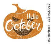hello october brush lettering... | Shutterstock .eps vector #1189027012