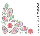 paisley floral corner elements.  | Shutterstock .eps vector #1189028542