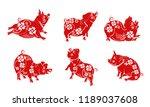 red cute pig. cartoon character ... | Shutterstock .eps vector #1189037608