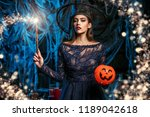 a witch in a castle. halloween. ...   Shutterstock . vector #1189042618