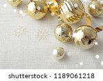 gold christmas ornaments ... | Shutterstock . vector #1189061218