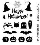 happy halloween silhouettes...   Shutterstock .eps vector #1189062142