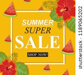 summer super sale banner with... | Shutterstock .eps vector #1189065202