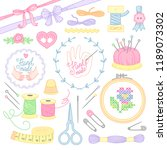 a set of tools and objects for  ... | Shutterstock .eps vector #1189073302