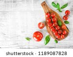fresh red tomatoes on white... | Shutterstock . vector #1189087828