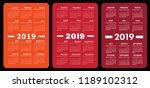 calendar 2019. red color...   Shutterstock .eps vector #1189102312