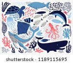 set with hand drawn sea life... | Shutterstock .eps vector #1189115695