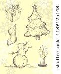 doodle sketch on christmas...   Shutterstock .eps vector #1189125148