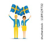 sweden flag waving man and woman | Shutterstock .eps vector #1189129732