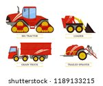 big tractor and loader trailed... | Shutterstock .eps vector #1189133215