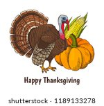 happy thanksgiving poster with... | Shutterstock .eps vector #1189133278