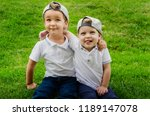 two boys of three years in...   Shutterstock . vector #1189147078