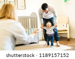 little baby girl first steps... | Shutterstock . vector #1189157152