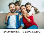 young beautiful happy family... | Shutterstock . vector #1189163392