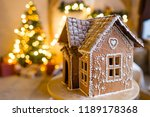 gingerbread house in living... | Shutterstock . vector #1189178368
