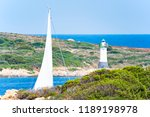 a sailboat is sailing on a...   Shutterstock . vector #1189198978