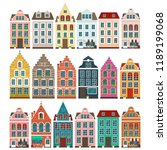 set of european colorful old... | Shutterstock .eps vector #1189199068
