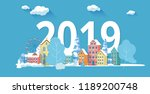 christmas and new year 2019... | Shutterstock .eps vector #1189200748