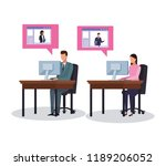 business workers and social... | Shutterstock .eps vector #1189206052