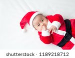 asian baby boy in santa claus... | Shutterstock . vector #1189218712
