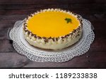 eggnog cake on mahogany wooden... | Shutterstock . vector #1189233838