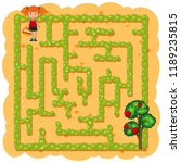 a girl picking fruit maze game... | Shutterstock .eps vector #1189235815