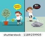 rich businesswoman watering can ...   Shutterstock .eps vector #1189259905