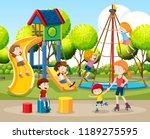 children playing outdoors scene ... | Shutterstock .eps vector #1189275595