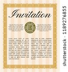 orange retro vintage invitation.... | Shutterstock .eps vector #1189276855
