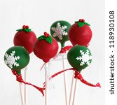 Green Christmas Cake Pops On A...